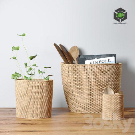 Decorative Set With Baskets(3ddanlod.ir) 530