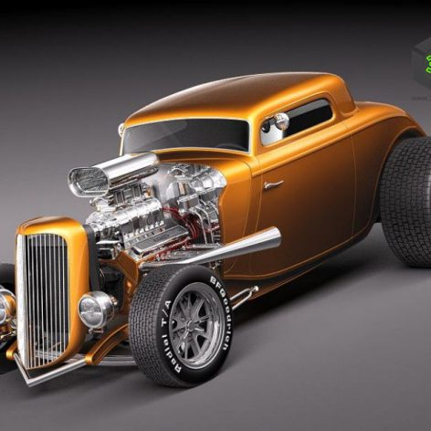 Ford 1934 3 window coupe Hot Rod 3D Model (2)(3ddanlod.ir)