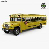 Ford B-700 Thomas Conventional School Bus 1984 3D Model(3ddanlod.ir)