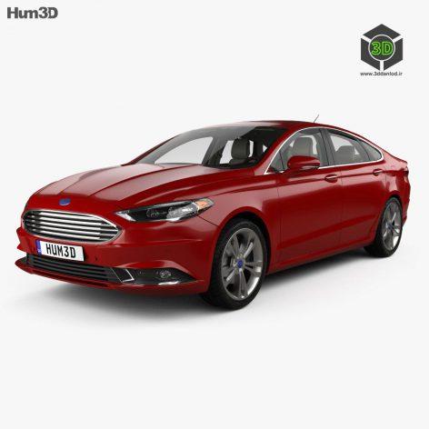 Ford Fusion Titanium with HQ interior 2017 3D Model (3ddanlod.ir)