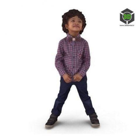 Curly boy smiling Full Body scanned 3d model (3ddanlod.ir)