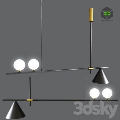Mid Century Modern 3 Light Chandelier With Cone(3ddanlod.ir) 885
