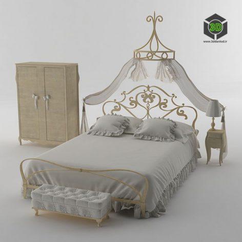 دانلود آبجکت تخت خواب کلاسیک 824