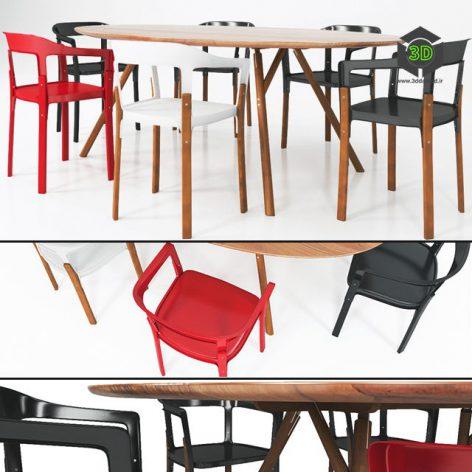 دانلود آبجکت میز صندلی مدرن 552