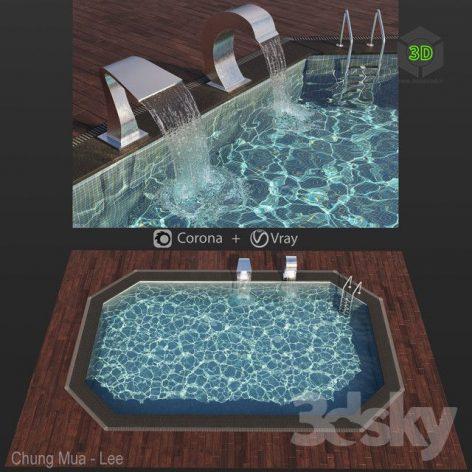 Swimming Pool With Waterfall 2(3ddanlod.ir) 963