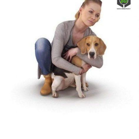 Girl With Beagle 3D model (3ddanlod.ir)