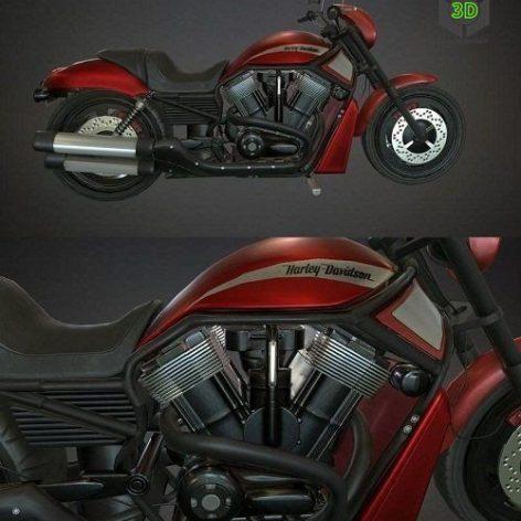 Harley Davidson Low Poly 3D Model (3ddanlod.ir)