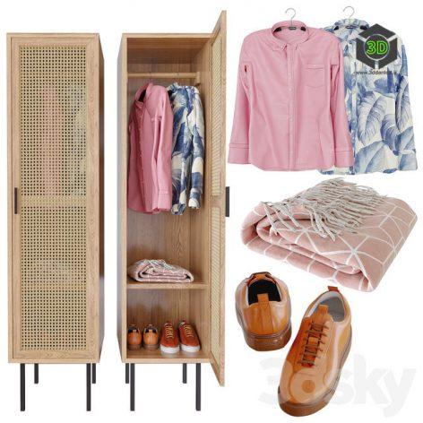 WASKA Wardrobe With Hangers With 1 Wicker Door(3ddanlod.ir) 1201
