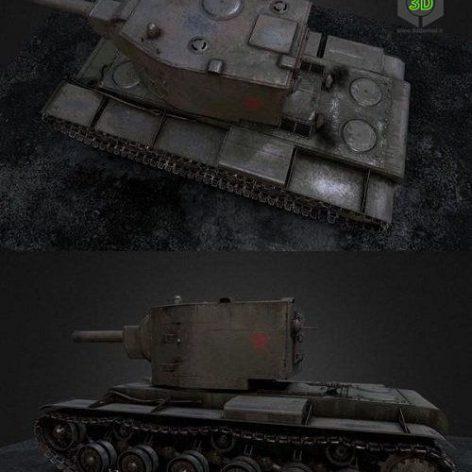 KV-2 soviet WW2 heavy tank 3D model (3ddanlod.ir)